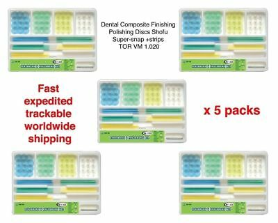 5 packs of Dental Finishing Polishing Discs Shofu Super-snap+strips TOR VM 1.020