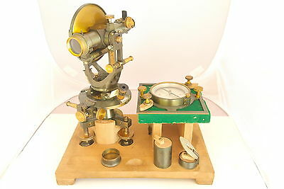 Very rare ancient  ,  R.REISS    theodolite + original compass + (wood box)