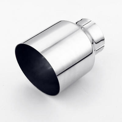 "Stainless Steel Exhaust Tip 2.5"" Inlet 4"" Outlet 5.5"" Long Angle Cut Single Wall"