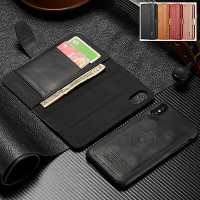 For iPhone XS Max XR Luxury Magnetic Leather Removable Wallet Stand Case Cover