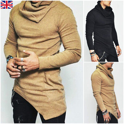 2018 Fashion Men Slim Fit Asymmetric Long Sleeve Muscle Tee T-shirt Tops Blouse