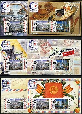 Singapur 1995 Block 37-46 Briefmarkenausstellung Singapore Musik Pilze Post MNH