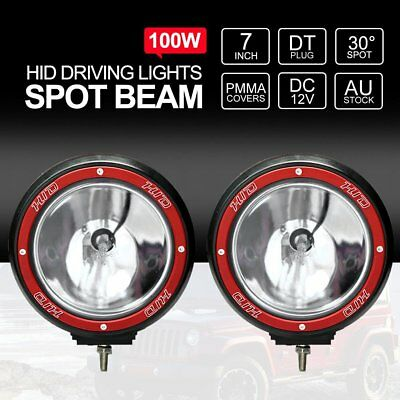 2X 7inch HID 100W Driving Lights XENON Spotlight Offroad Lamp UTE 4x4 Work Red