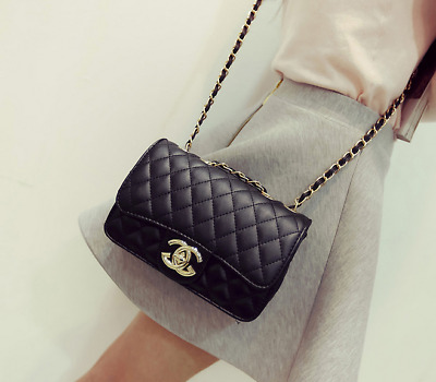 Womens Quilted Chain Bag Leather Shoulder Crossbody Handbag wholesale UK STOCK