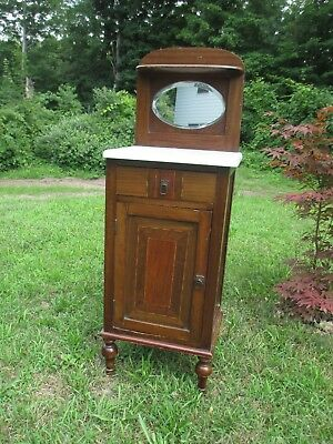 antique mission  Arts and Craft MARBLE TOP cabinet HALF COMMODE shipped maybe