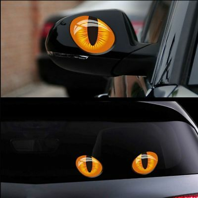 2pcs Waterproof Scratches Exterior Auto Decal Cat Eyes Motorcycle Car Stickers