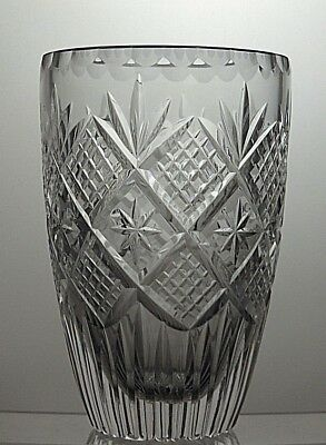 Stunning Cut Glass Lead Criss Cross Cut Crystal Vase