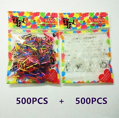 1000Pcs Ponytail Holder Elastic Rubber Band Braid Hairband Hair Ties Ropes Rings