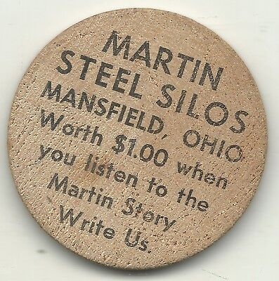 High Grade Wooden Nickel Martin Steel Silos Mansfield Ohio-Agt366