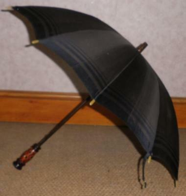 Antique /Vintage Wooden Top Navy Silk Canopy Umbrella - By HTD