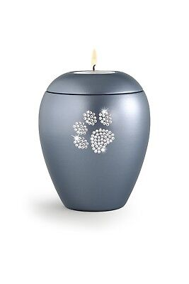 Ventnor Crystal Paw Candle Grey Cremation Ashes Urn - UU580031