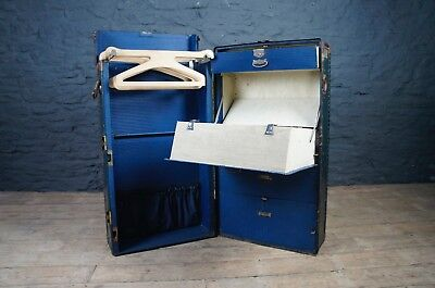 Antique Victor Wardrobe Trunk / Luggage Chest - Vintage Clothes Storage in Blue
