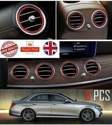 For Mercedes E Class Vent Ring Trim 8 PCS New W213 2016 Onwards  Red Or Blue