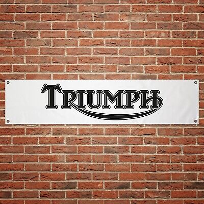 Triumph Motorcycles Banner Garage Workshop PVC Sign Trackside Display Old Style