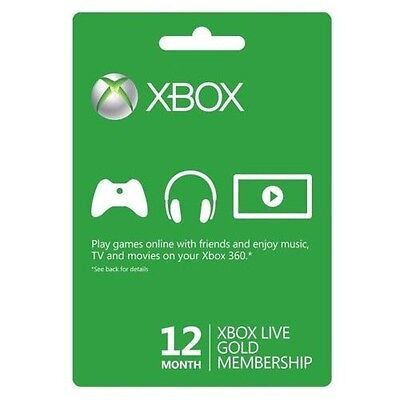 Microsoft Xbox 360/One Live 12 Month 1 Year Gold Membership Subscripti​on