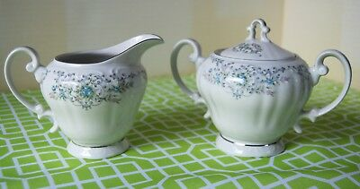 Norleans China Theresa Vintage Sugar & Creamer Set EUC Made in JAPAN white blue