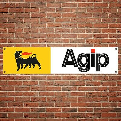 Agip Oil Banner Motor Oil Garage Workshop PVC Sign Petrol Gasoline