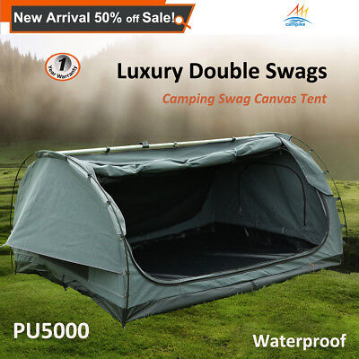 Double Camping Swags Luxury Outdoor Hiking Canvas Swag Free Standing Dome Tent