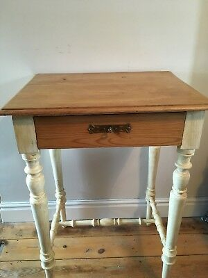 Late 19th C. Antique Danish Pine Side Occasional 1 drawer  Table