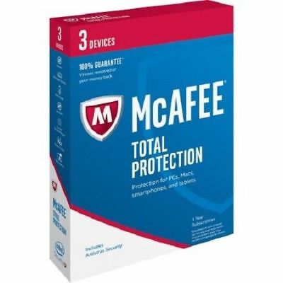 McAFEE Total Protection Anti Virus One Year Subscription For 3 Devices PC Mac