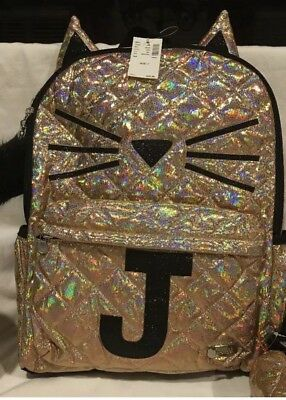 NWT Justice  Gold Cat Quilted Style Backpack  Initial Letter ~J~