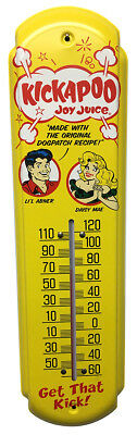 Kickapoo Joy Juice Lil Abner Thermometer Vintage Old Style Soda Sign