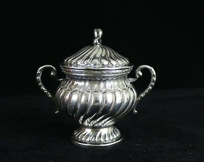 Rare Antique Lavorato A Mano Italy 800 Sterling Silver Lidded Sugar Bowl, 215g