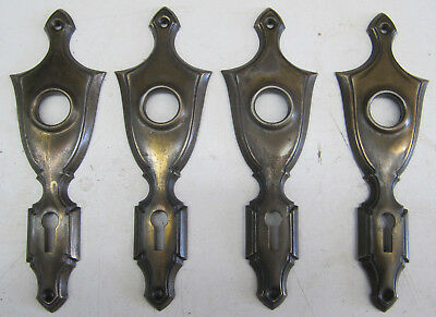 Vintage Door Knob Backplates Lot of 4 Bronze Color Shield Shaped