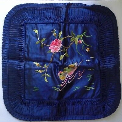 Vintage Golden Bee China Embroidered Blue Ducks Pillow Case Cushion Cover