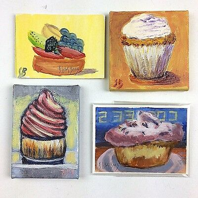 Tiny Paintings ACEO Art Acrylic Cupcake Dessert Canvas Card Gift PICK-A-PAINTING