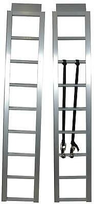 Pair Aluminum Straight Loading Ramp Heavy Duty With Adjustable Attachment Straps
