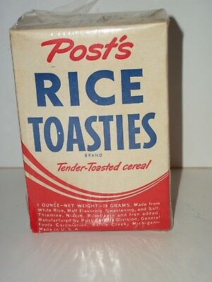 Free Sample Size POST'S CEREAL RICE TOASTIES NOS FULL BOX General Foods Unopened