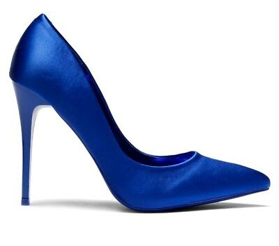 High Heel Pointed Toe 4.5 in Stiletto Women's Royal Blue Satin Shoes US 11
