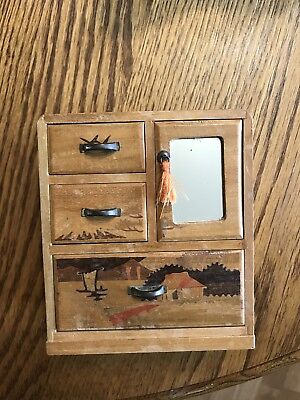 "Vintage Japan Made Miniature Wood Cabinet W/drawers Inlaid 5"" Tall"