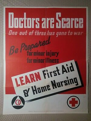 Vintage WW2 1943 Poster 22x28 Doctors are Scarce Learn First Aid OWI No 27 War