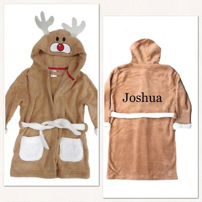 Personalised Embroidered Unisex Kids Dressing Gown Reindeer