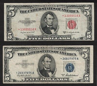1953-A $5 Blue Seal X975 & 1953-B $5 Red Seal Low Issue X516 ** Star Notes **