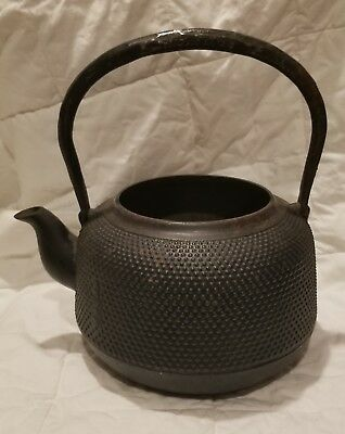 Vintage / Antique Japanese Nambu Hobnail Cast Iron Tea Pot / Tea Kettle 御釜屋 STK1