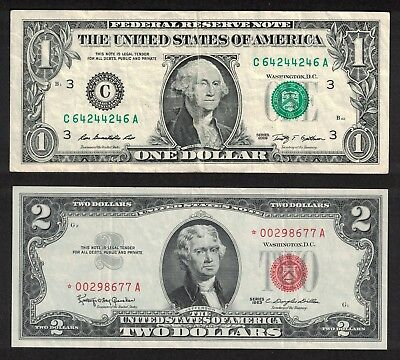 2009 $1 Trinary Radar Note X246 & 1963 $2 Red Seal Low Issue * Star Note * X677