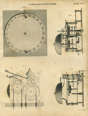 Antique print CLOCK & WATCH WORK - Horology - copper plate engraving - 1842 - C8