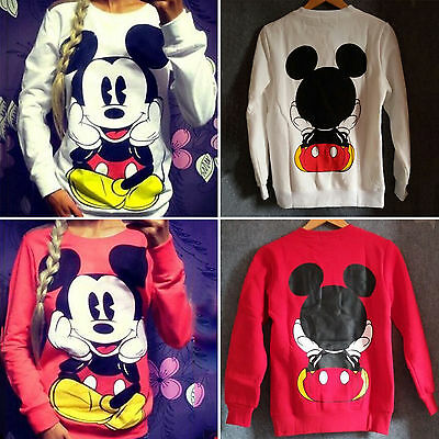 Women Mickey Mouse Pullover Sweatshirt Sweater Round Neck Long Sleeve T-Shirt US