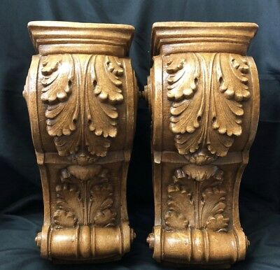 2 Acanthus Leaf Scroll Corbel Brackets Home Decor Wood Stained