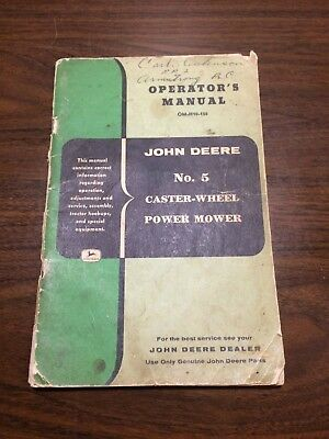 John Deere No. 5 Caster-Wheel Power Mower Operator's Manual
