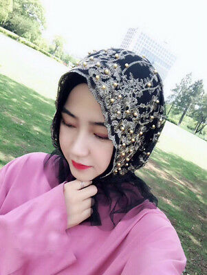 Refreshing Women Muslim Pearls Single-deck Lace Turban Grenadine Scarf Hijab New