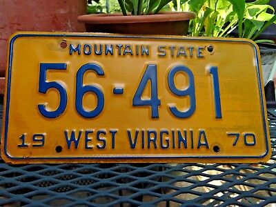 1970 WEST VIRGINIA LICENSE PLATE TAG  LOW # 56-491 MOUNTAIN STATE  *** Nice ***