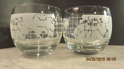 NESTLE Co NESCAFE GLASS WORLD GLOBE MAP Glasses - Set of Two