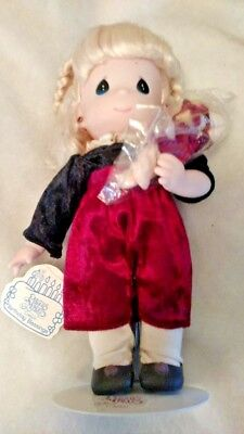 """January Precious Moments Birthday Blessings Series 12"""" Doll w/ tag, stand & baby"""