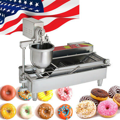 USA Commercial Automatic Donut Maker Doughnut Machine Wide Oil Tank 3 Sets Mold