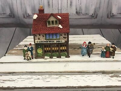 Department 56 Crown Tree Inn With People Guest  Holiday Xmas Ceramic