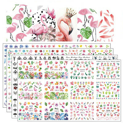 DIY 12 Designs Nail Polish Sticker Water Decal Flamingo Flowers Transfer Decors
